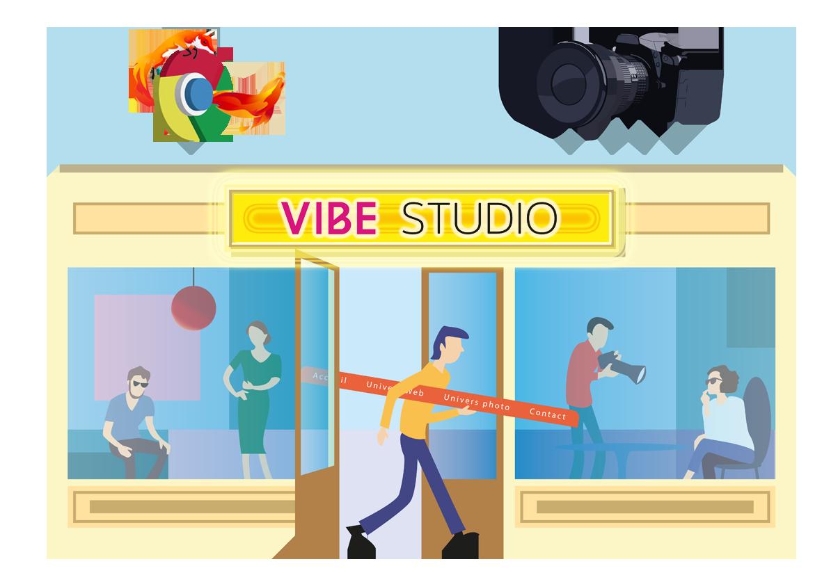 illustration de la boutique Vibe Studio ouverte